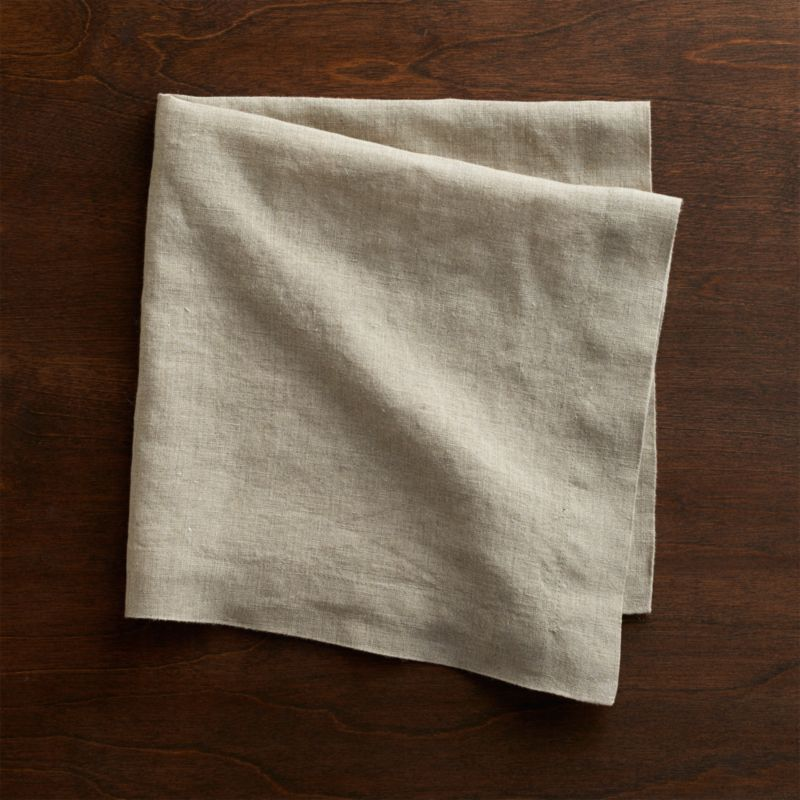 Helena Dark Natural Linen Dinner Napkin Crate And Barrel