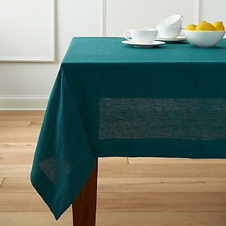 "Helena Peacock 60""x90"" Linen Tablecloth"