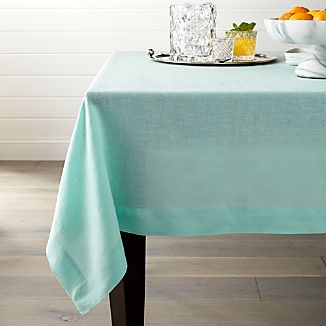 Helena Sky Blue Linen Tablecloth