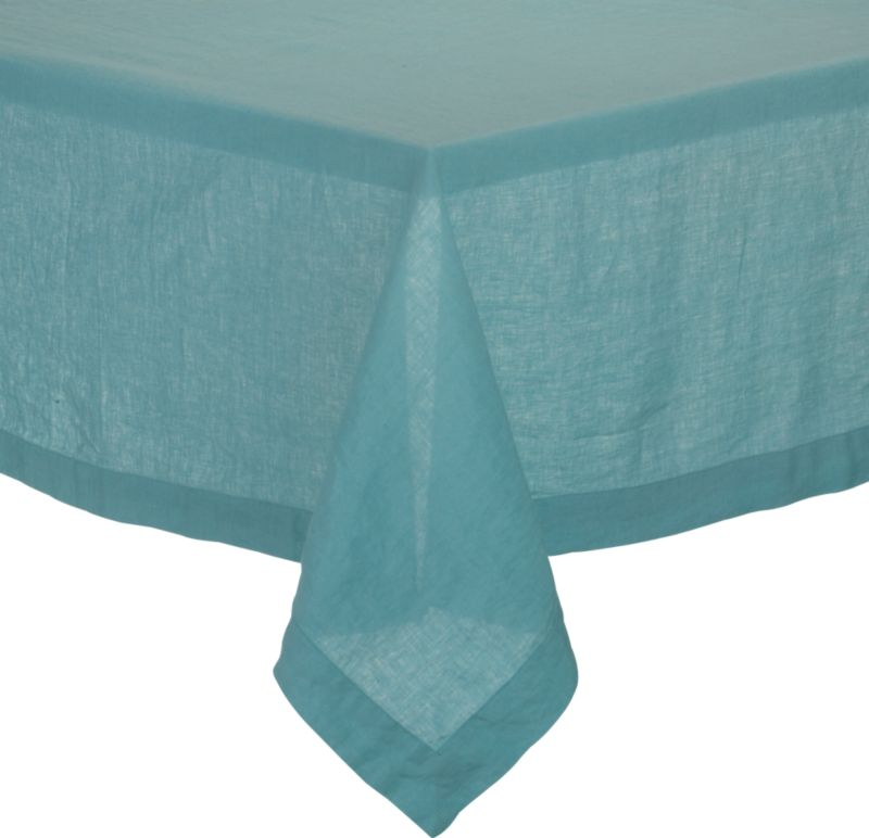 """Lightweight 100% linen tablecloths in beautifully vibrant solids are pre-washed for extra softness. Tailored with 2"""" hems and mitered corners for a neat, finished look.<br /><br /><NEWTAG/><ul><li>100% linen</li><li>Dry clean or machine wash cold separately on gentle cycle, do not bleach</li><li>Tumble dry low</li><li>Warm iron as needed</li><li>Made in India</li></ul>"""