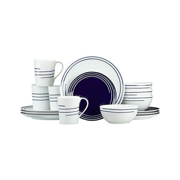 Helix 16-Piece Set with Blue Salad Plate