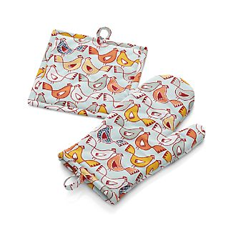 Hen House Oven Mitt and Potholder