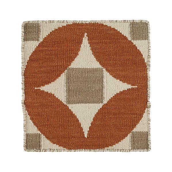 "Henny Orange Wool 12"" sq. Rug Swatch"