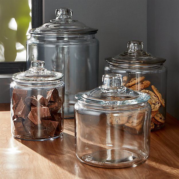 Glass Kitchen Canisters. Home Goods / Kitchen & Dining / Kitchen Storage / Kitchen Canisters. of Results. Sort by: Delivery. 2 Day Delivery; Zip Code: Colors Materials. Glass Home Basics 4 Piece Airtight Clamp Lid Glass Canister Set with 56 Reusable Chalkboard Labels.