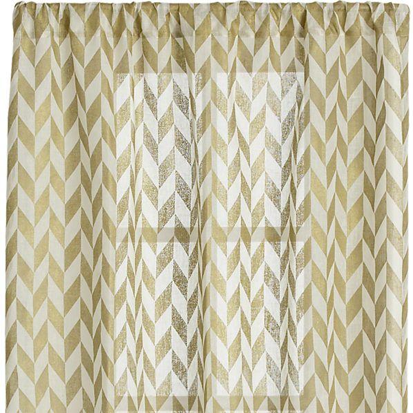 Herringbone Gold Sheer 48x108 Curtain Panel