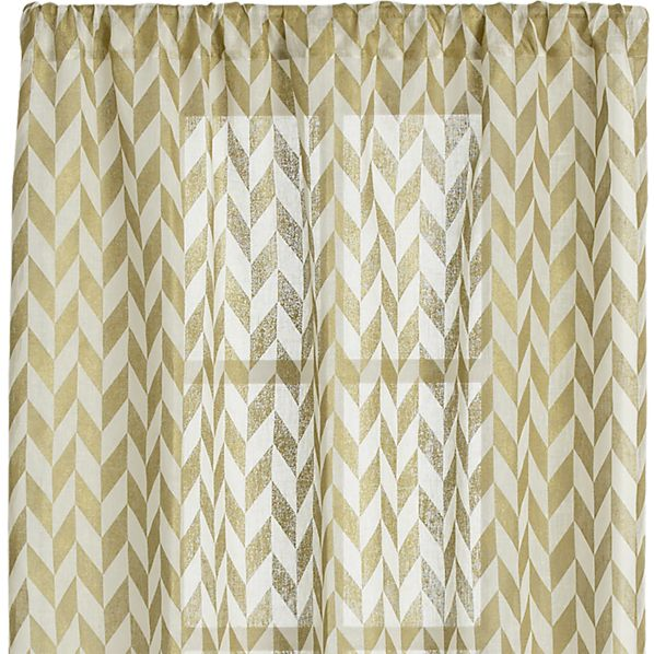 Herringbone Gold Sheer 48x84 Curtain Panel