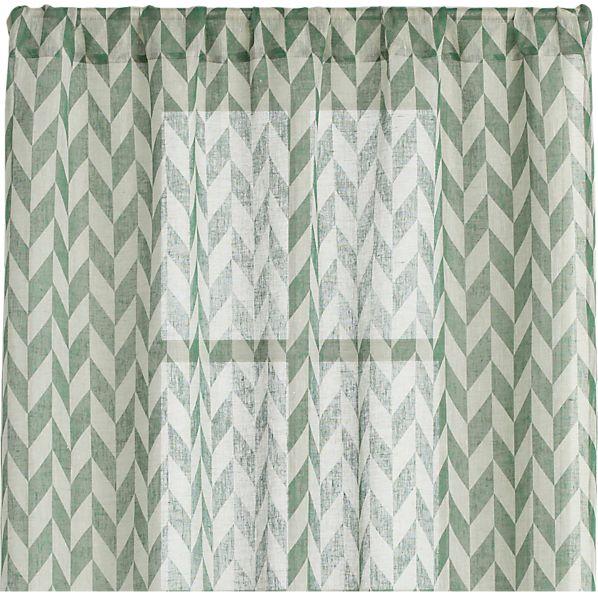 Herringbone Laurel Sheer 48x96 Curtain Panel