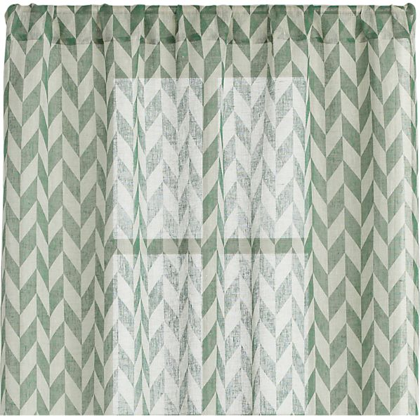 Herringbone Laurel Sheer 48x96 Curtain Panel