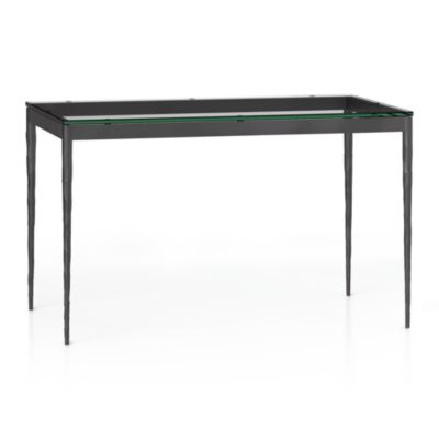 Glass Top/ Hammered Base 48x28 Dining Table