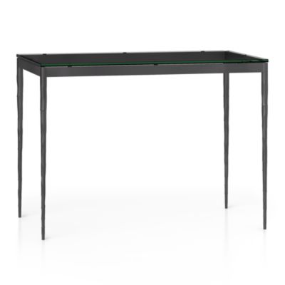 Glass Top/ Hammered Base 48x28 High Dining Table