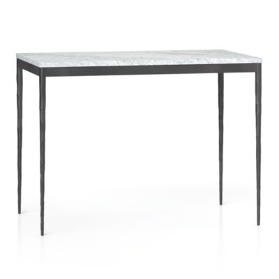 Marble Top/ Hammered Base 48x28 High Dining Table