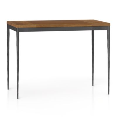 Teak Top/ Hammered Base 48x28 High Dining Table