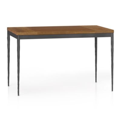 Teak Top/ Hammered Base 48x28 Dining Table