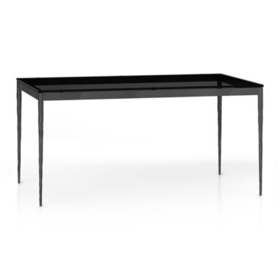 Grey Glass Top/ Hammered Base 60x36 Dining Table