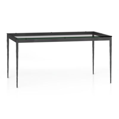 Glass Top/ Hammered Base 60x36 Dining Table