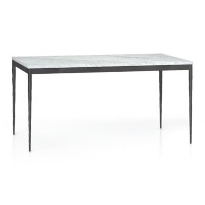 Marble Top/ Hammered Base 60x36 Dining Table