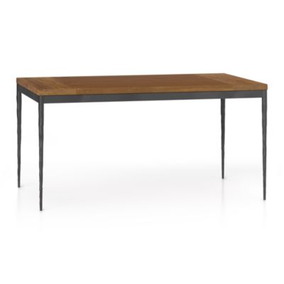 Teak Top/ Hammered Base 60x36 Dining Table
