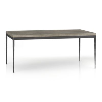 Concrete Top/ Hammered Base 72x42 Dining Table