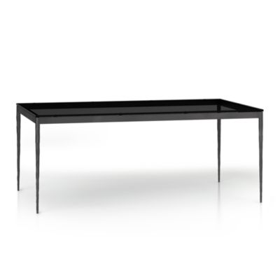 Grey Glass Top/ Hammered Base 72x42 Dining Table