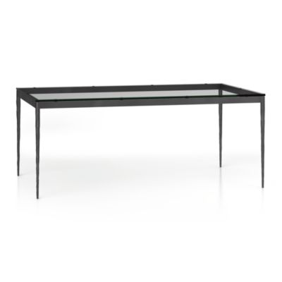 Glass Top/ Hammered Base 72x42 Dining Table