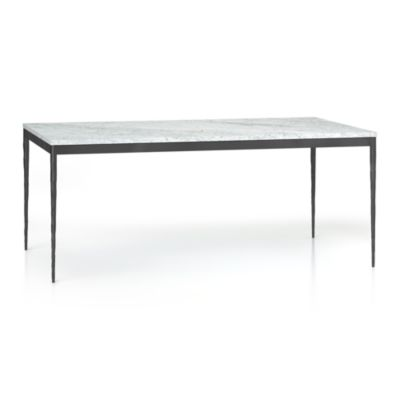 Marble Top/ Hammered Base 72x42 Dining Table