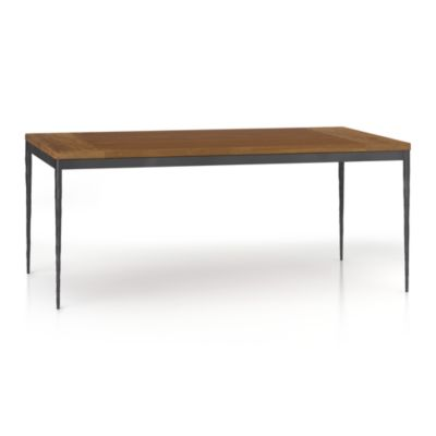 Teak Top/ Hammered Base 72x42 Dining Table