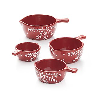 Set of 4 Holiday Ceramic Measuring Cups