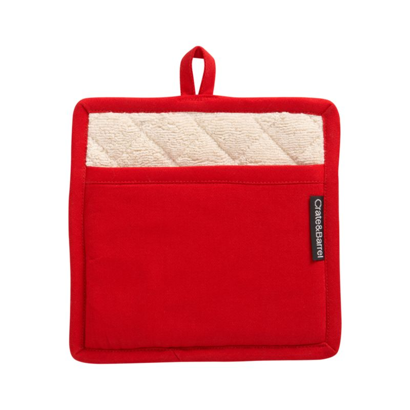 Kitchen classic in plush red cotton terry has Crate and Barrel logo tag tucked tastefully along the side seam. Potholder is lined in natural terry.<br /><br /><NEWTAG/><ul><li>100% cotton</li><li>Machine wash</li><li>Made in India</li></ul>