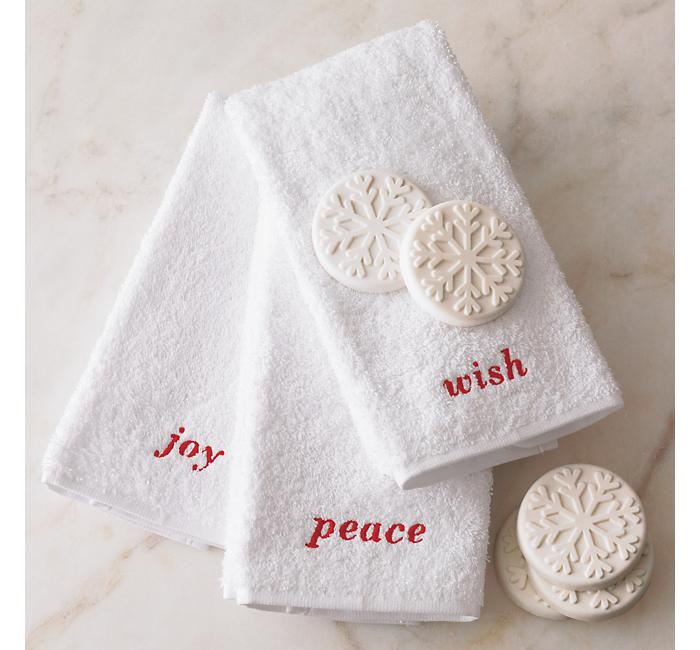 Crate and Barrel - Holiday Guest Towels Set of Three shopping in Crate and Barrel Bed and Bath