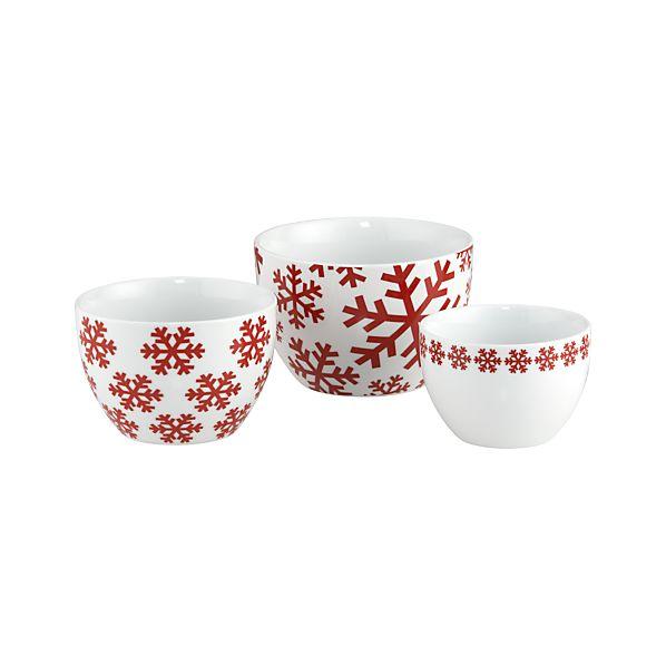 3-Piece Holiday Snowflake Nesting Bowl Set