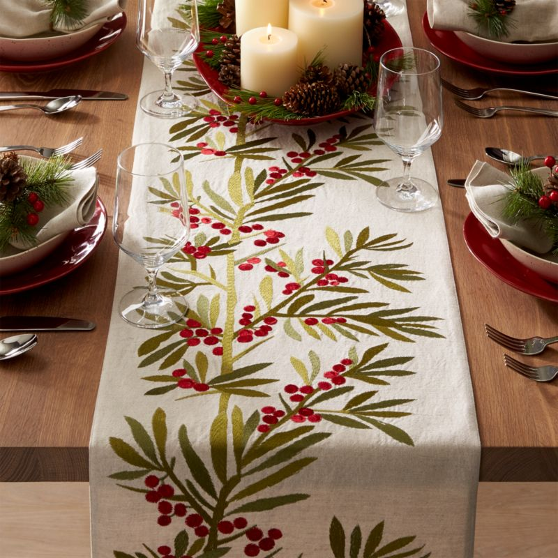 Holly Embroidered Table Runner 120 Crate And Barrel