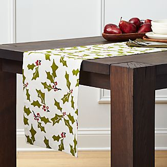 "Holly 90"" Cotton-Linen Table Runner"