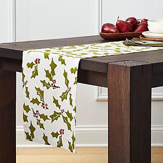 "Holly 90"" Cotton-Linen Table Runner"