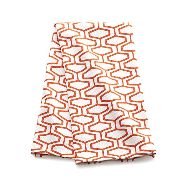 Honeycomb Orange Dish Towel