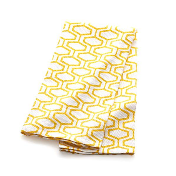 Honeycomb Yellow Dish Towel