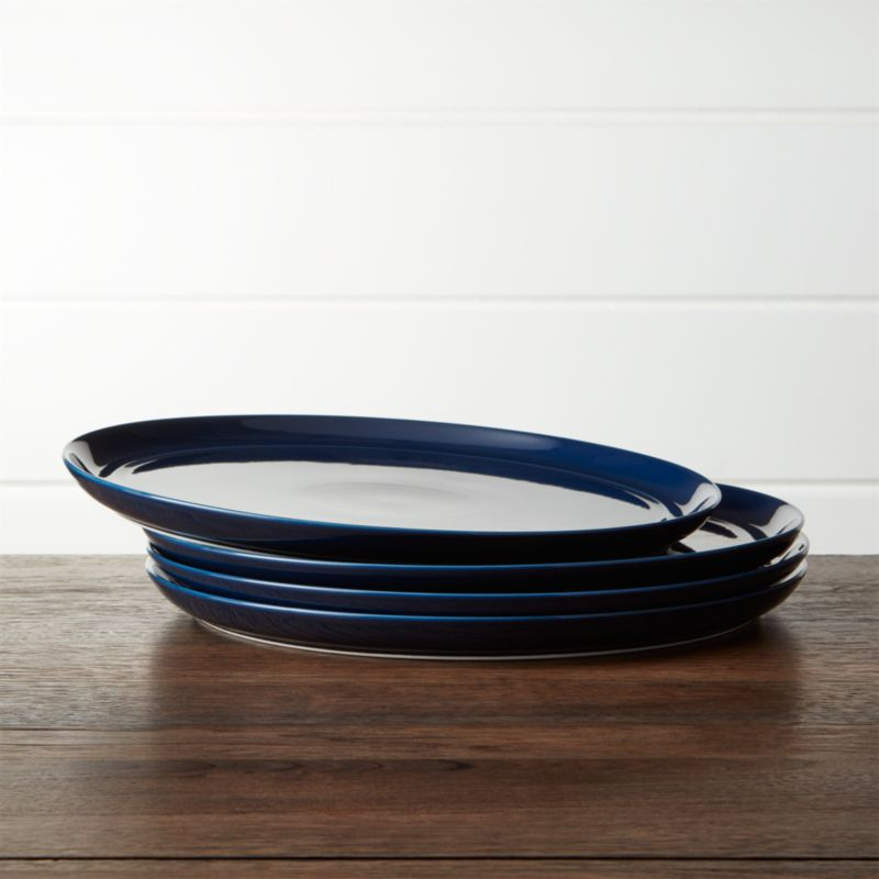 Hue Navy Blue Dinner Plates Set Of Four Crate And Barrel