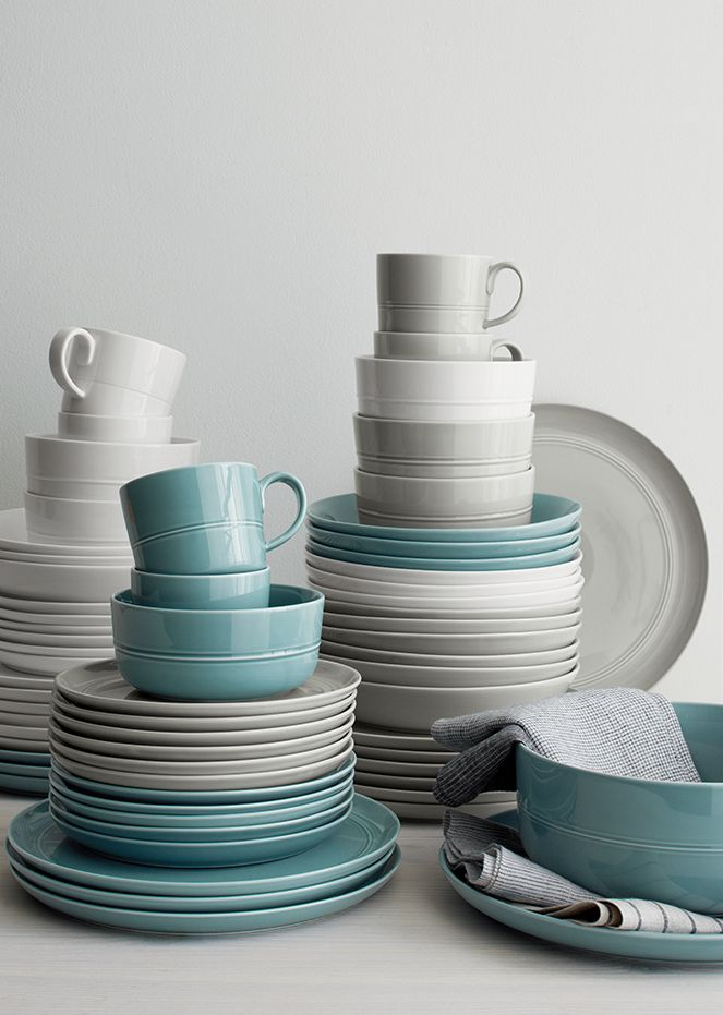 Hue Blue, White and Light Grey dinnerware and serveware