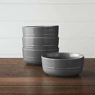 Set of 4 Hue Dark Grey Bowls