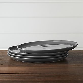 Set of 4 Hue Dark Grey Dinner Plates