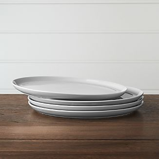 Set of 4 Hue Light Grey Dinner Plates