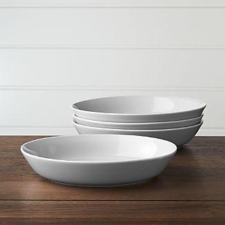 Set of 4 Hue Light Grey Low Bowls