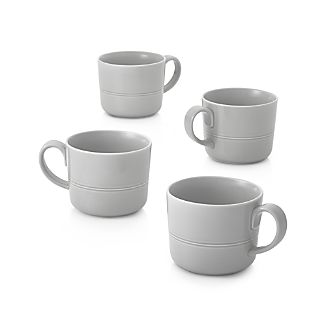 Set of 4 Hue Light Grey Mugs