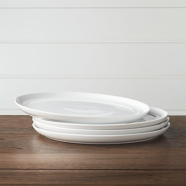 Set Of 4 Hue White Dinner Plates In Everyday Dinnerware Crate And Barrel