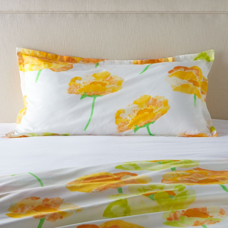 """Orange and citron poppies bloom outsize and ethereal on crisp white cotton percale, rendered in watercolor washes and artful brushstrokes. Designed by Fujiwo Ishimoto this exuberant pattern is an outstanding example of the designer's abstract perspective on nature's beauty. Shams have a 1"""" flange and overlapping closure on the back. Bed pillows also available.<br /><br /><NEWTAG/><ul><li>Designed by Fujiwo Ishimoto</li><li>100% cotton percale</li><li>300-thread count</li><li>1"""" flange</li><li>Overlapping back closure</li><li>Machine wash cold; tumble dry low; warm iron as needed</li><li>Made in Pakistan</li></ul>"""