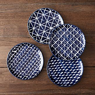 Indigo Blue Batik Plates Set of Four