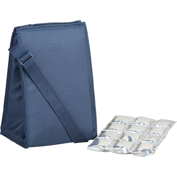 Insulated Blue Lunch Bag with Ice Mat