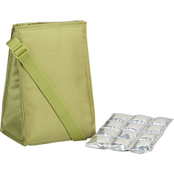 Insulated Green Lunch Bag with Ice Mat
