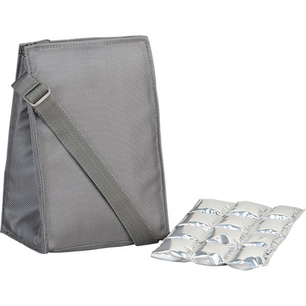 Insulated Grey Lunch Bag with Ice Mat