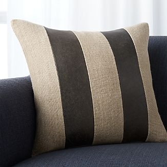"Ira Grey Leather 18"" Pillow"