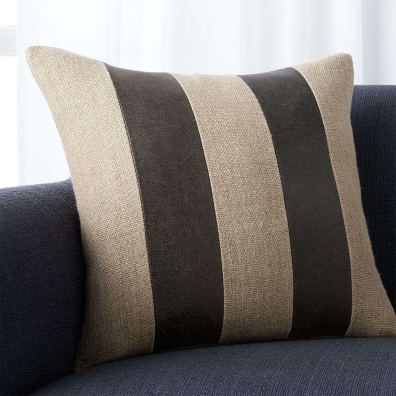 "Ira Grey 18"" Pillow with Feather-Down Insert"